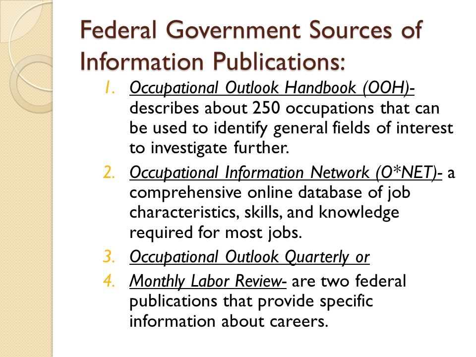 Goals: Identify sources of career information. - ppt video ...