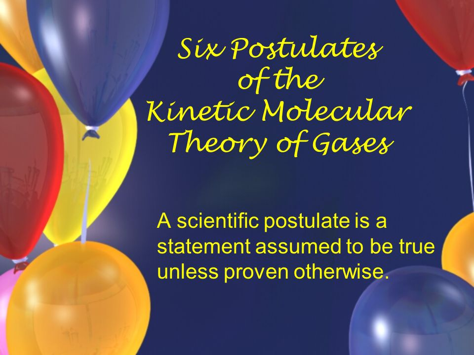 Six Postulates of the Kinetic Molecular Theory of Gases