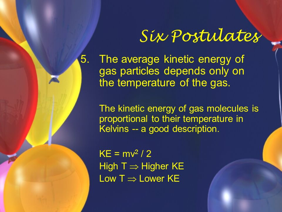 Six Postulates The average kinetic energy of gas particles depends only on the temperature of the gas.
