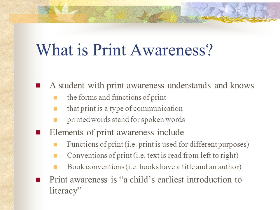 What is Print Awareness