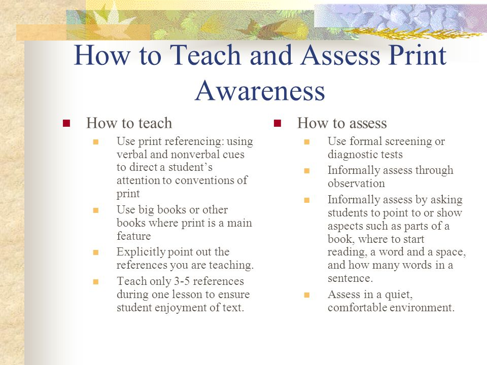 How to Teach and Assess Print Awareness