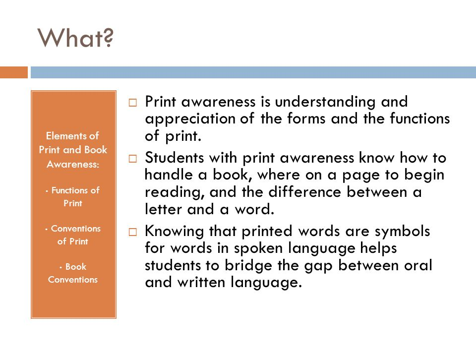 Elements of Print and Book Awareness: