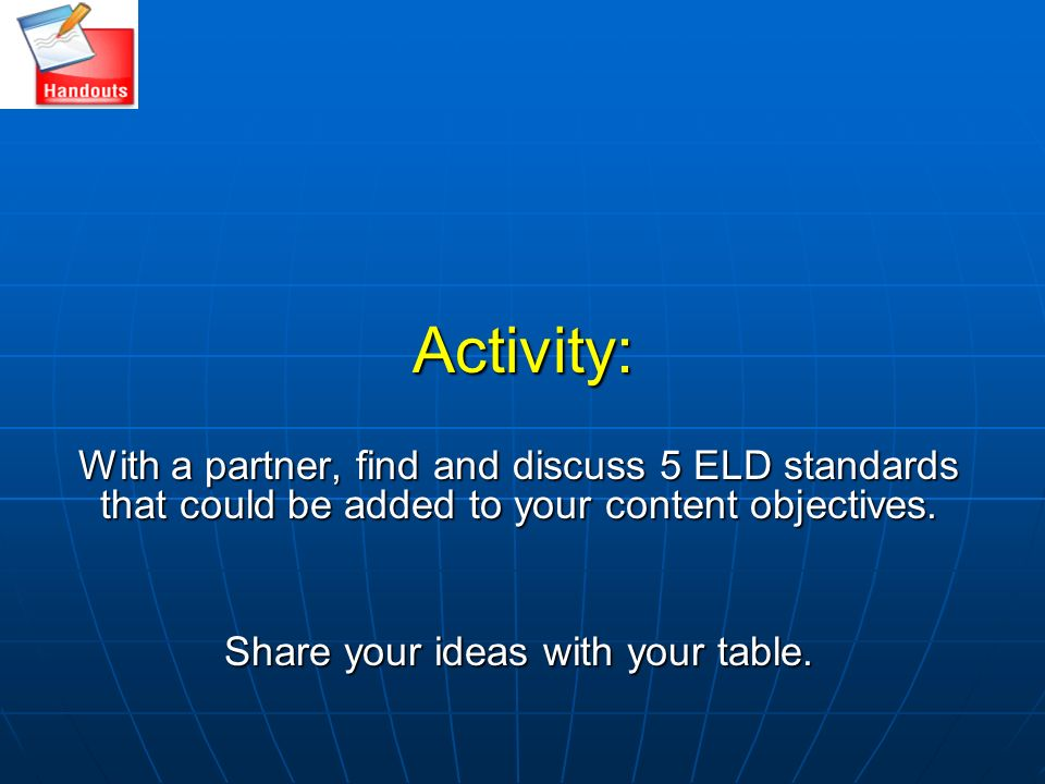 Share your ideas with your table.