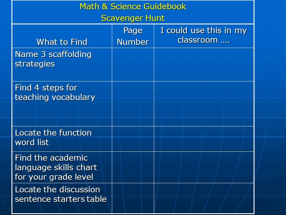Math & Science Guidebook Scavenger Hunt