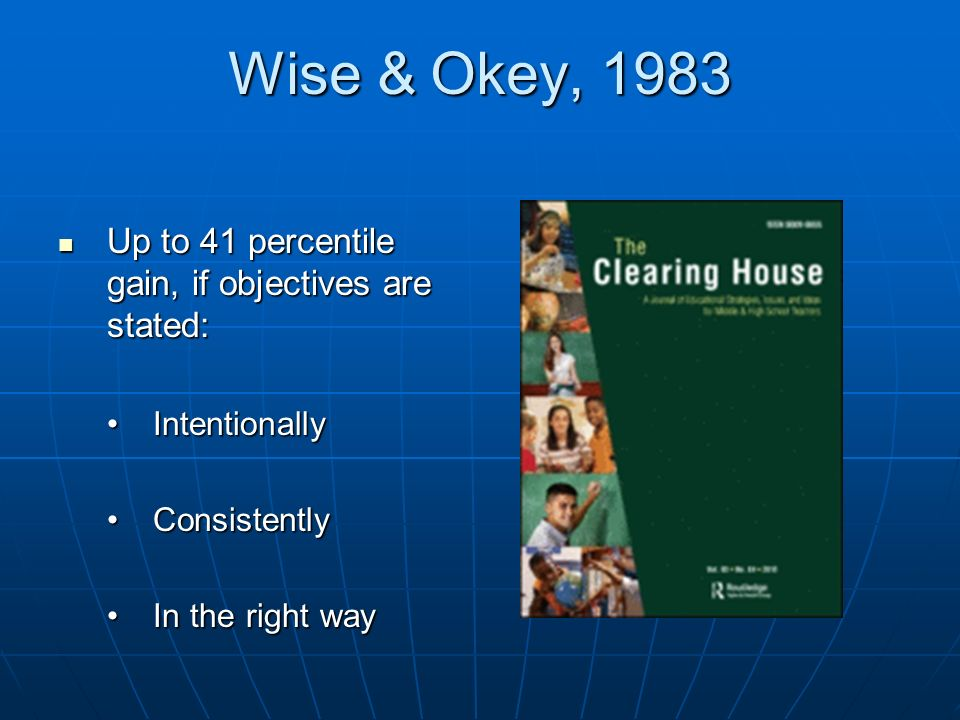 Wise & Okey, 1983 Up to 41 percentile gain, if objectives are stated: