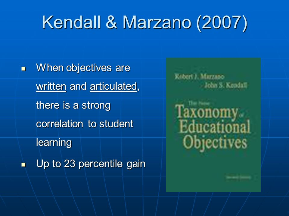 Kendall & Marzano (2007) When objectives are written and articulated, there is a strong correlation to student learning.