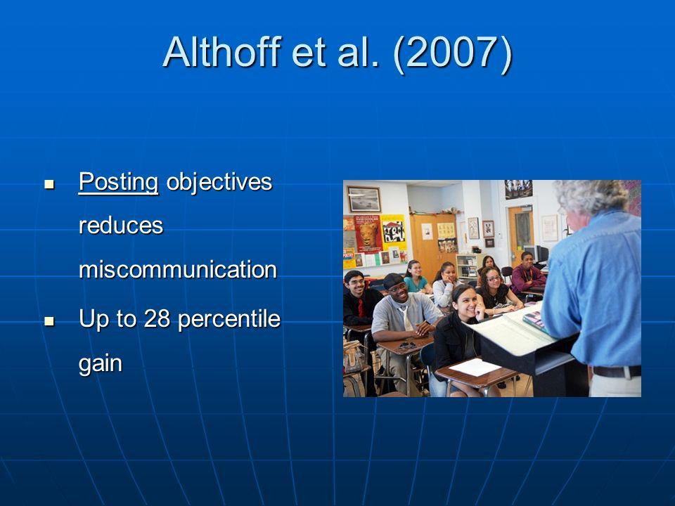 Althoff et al. (2007) Posting objectives reduces miscommunication