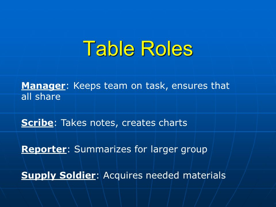 Table Roles Manager: Keeps team on task, ensures that all share
