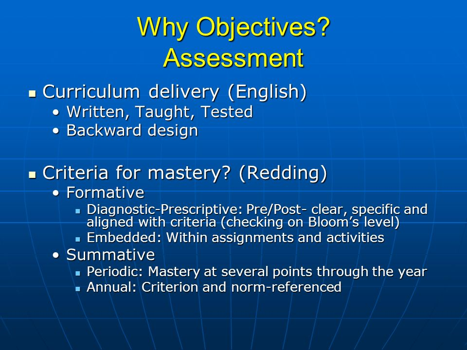 Why Objectives Assessment