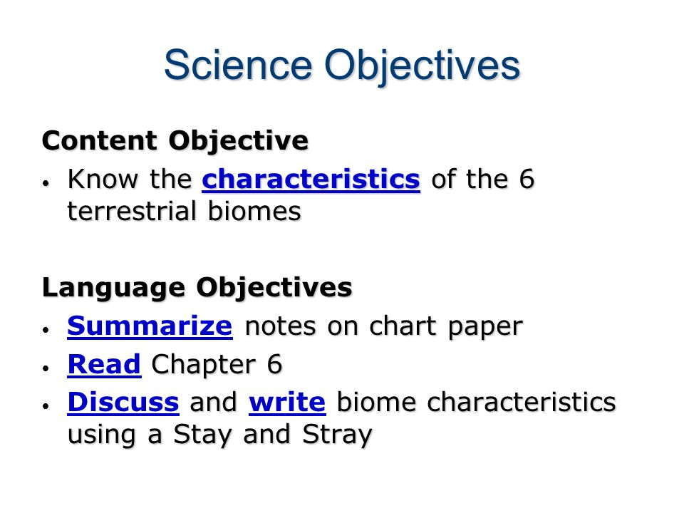 Science Objectives Content Objective