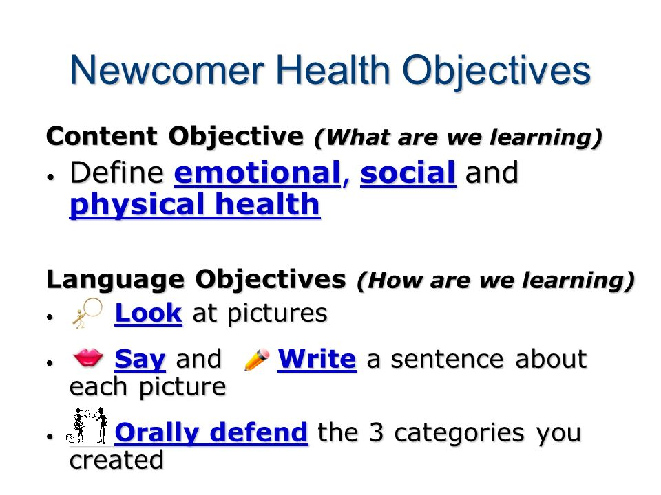 Newcomer Health Objectives