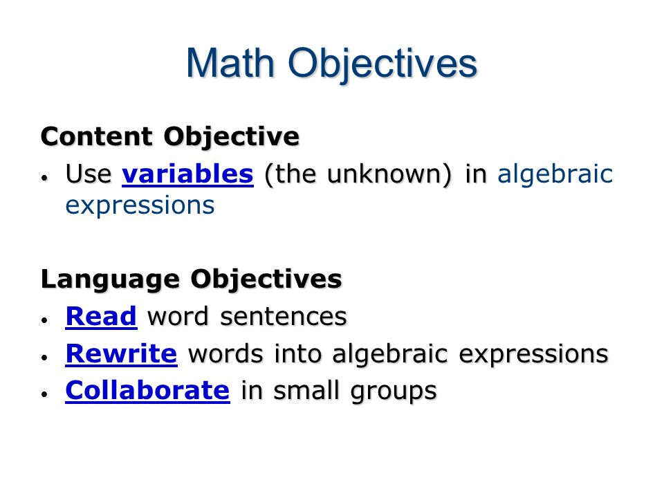 Math Objectives Content Objective