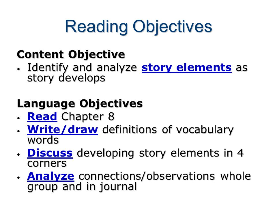 Reading Objectives Content Objective