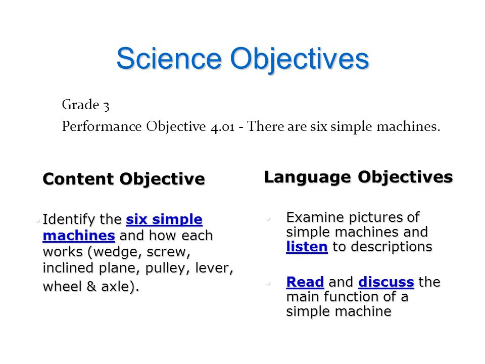 Science Objectives Language Objectives Grade 3