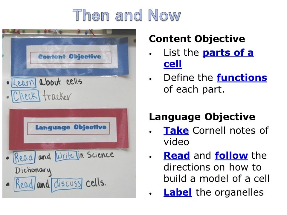 Then and Now Content Objective List the parts of a cell