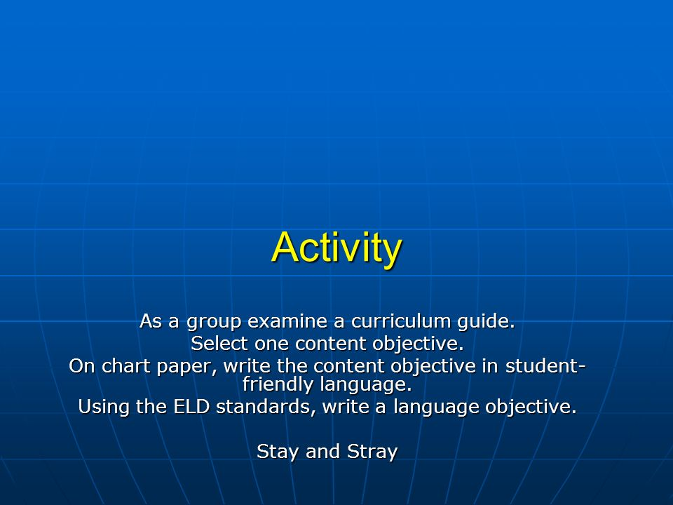 Activity As a group examine a curriculum guide.