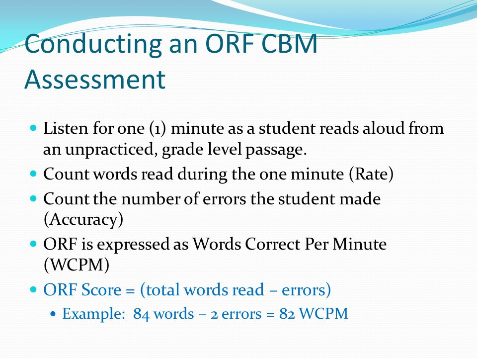 Conducting an ORF CBM Assessment
