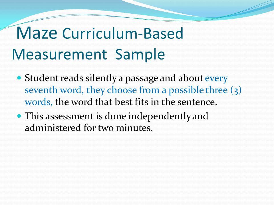 Maze Curriculum-Based Measurement Sample