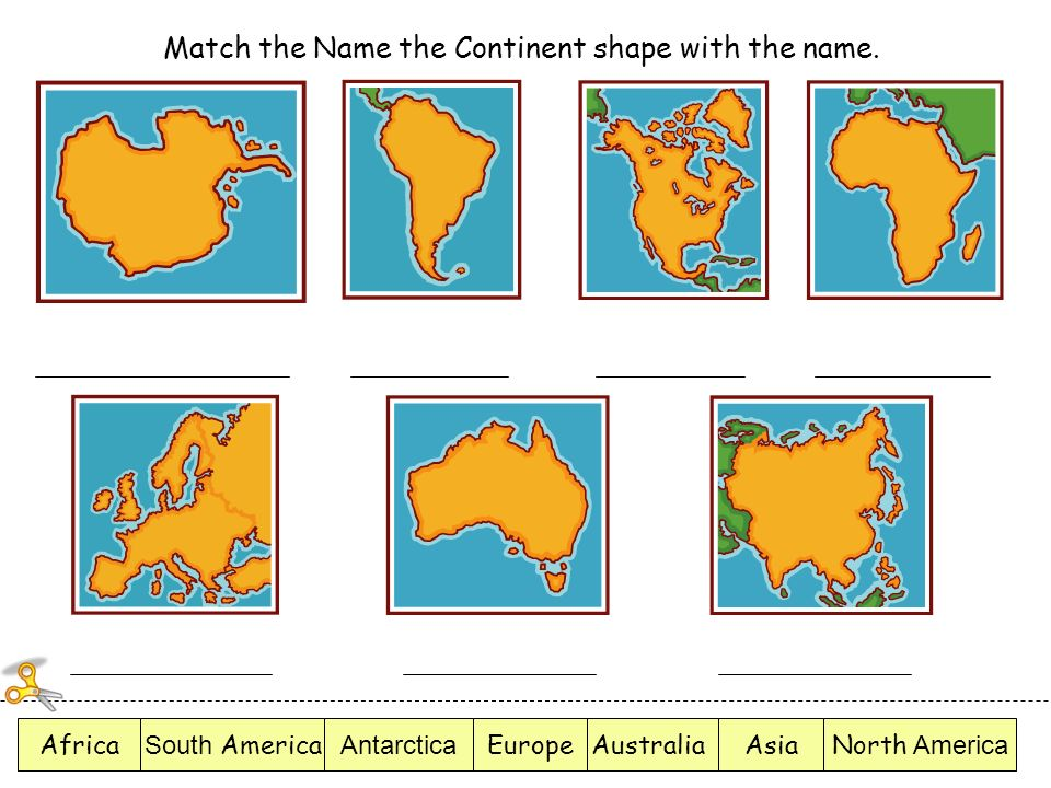Match the Name the Continent shape with the name.