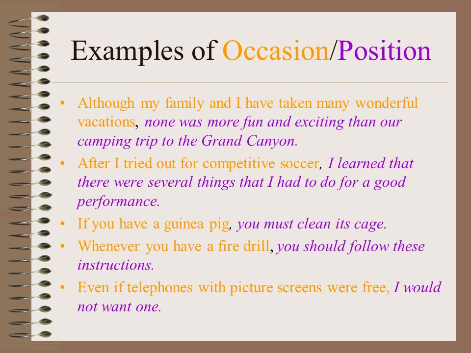 Examples of Occasion/Position
