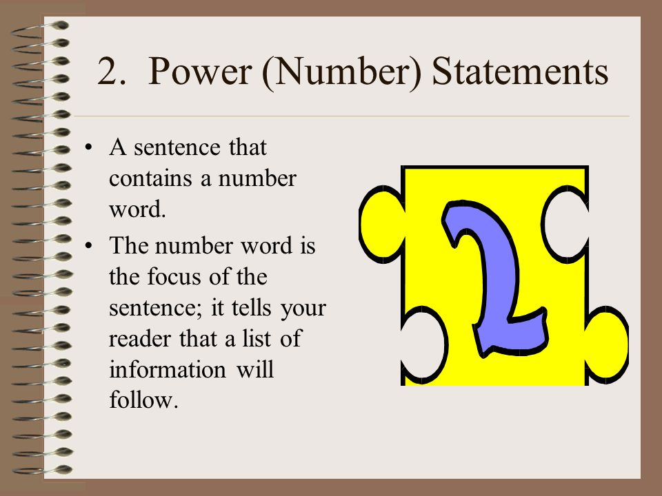 2. Power (Number) Statements
