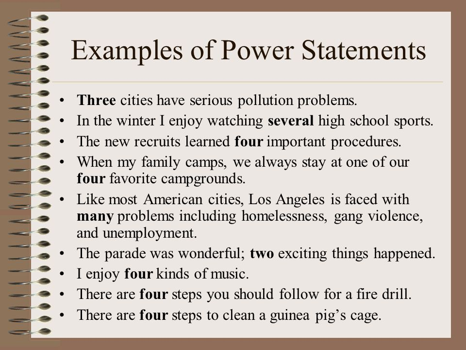 Examples of Power Statements