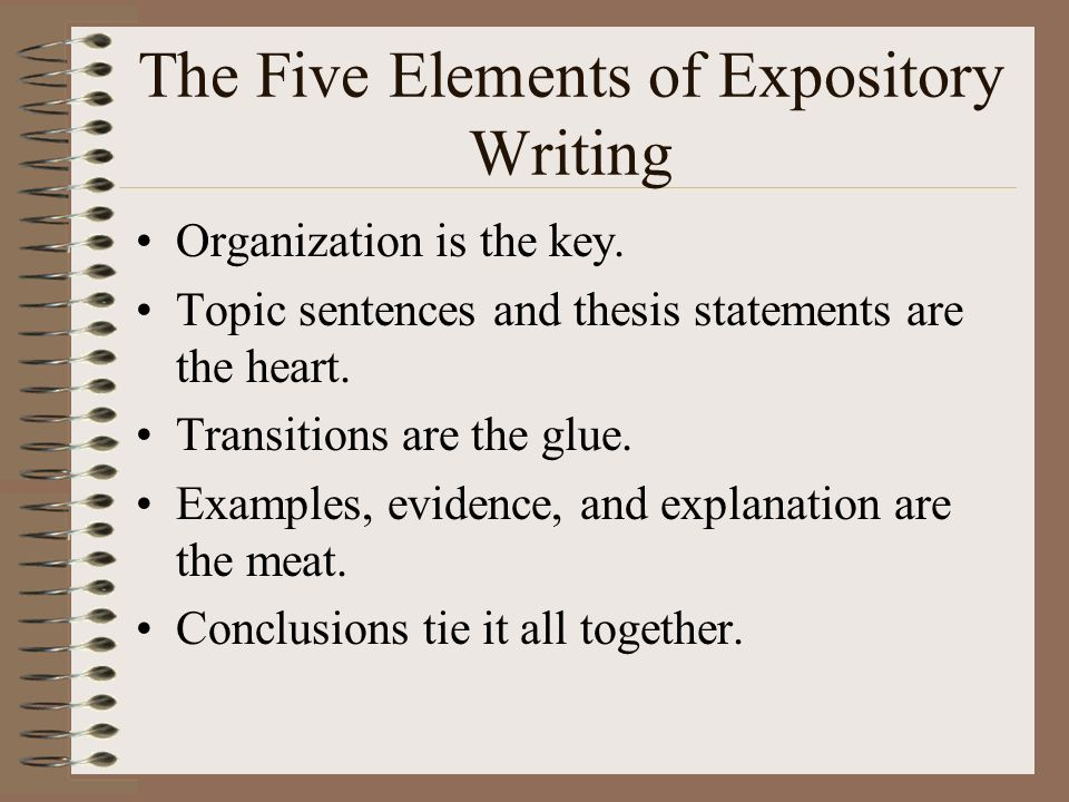The Five Elements of Expository Writing