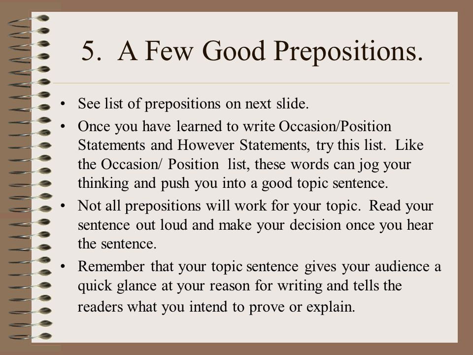 5. A Few Good Prepositions.