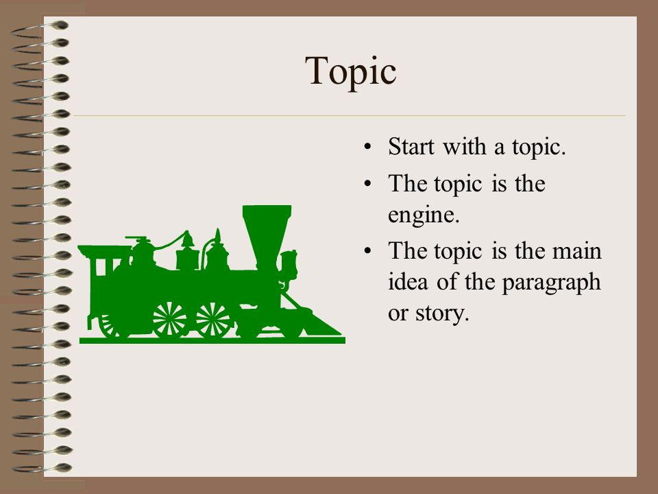 Topic Start with a topic. The topic is the engine.