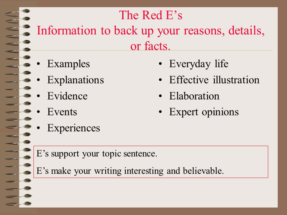 The Red E's Information to back up your reasons, details, or facts.
