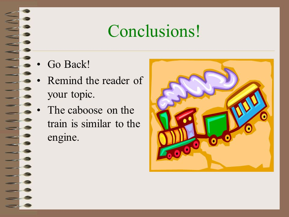 Conclusions! Go Back! Remind the reader of your topic.