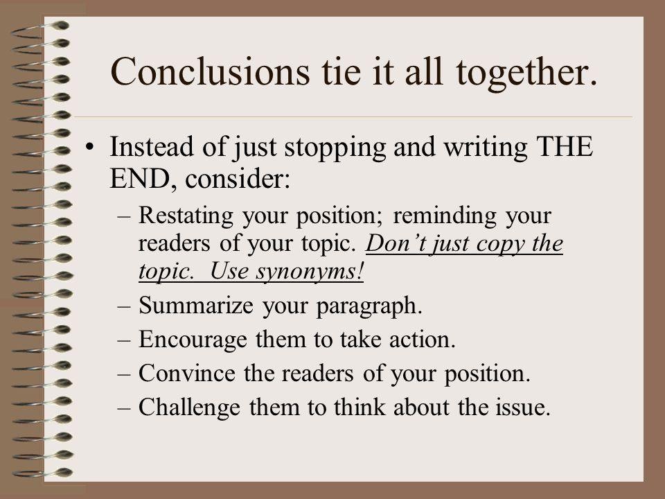 Conclusions tie it all together.