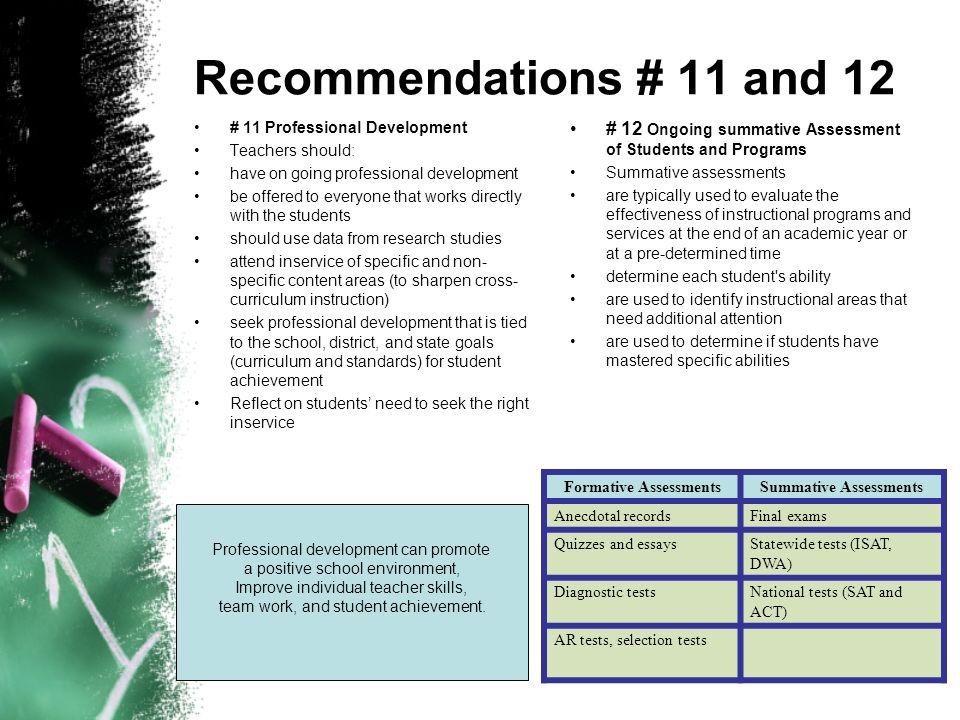 Formative Assessments Summative Assessments
