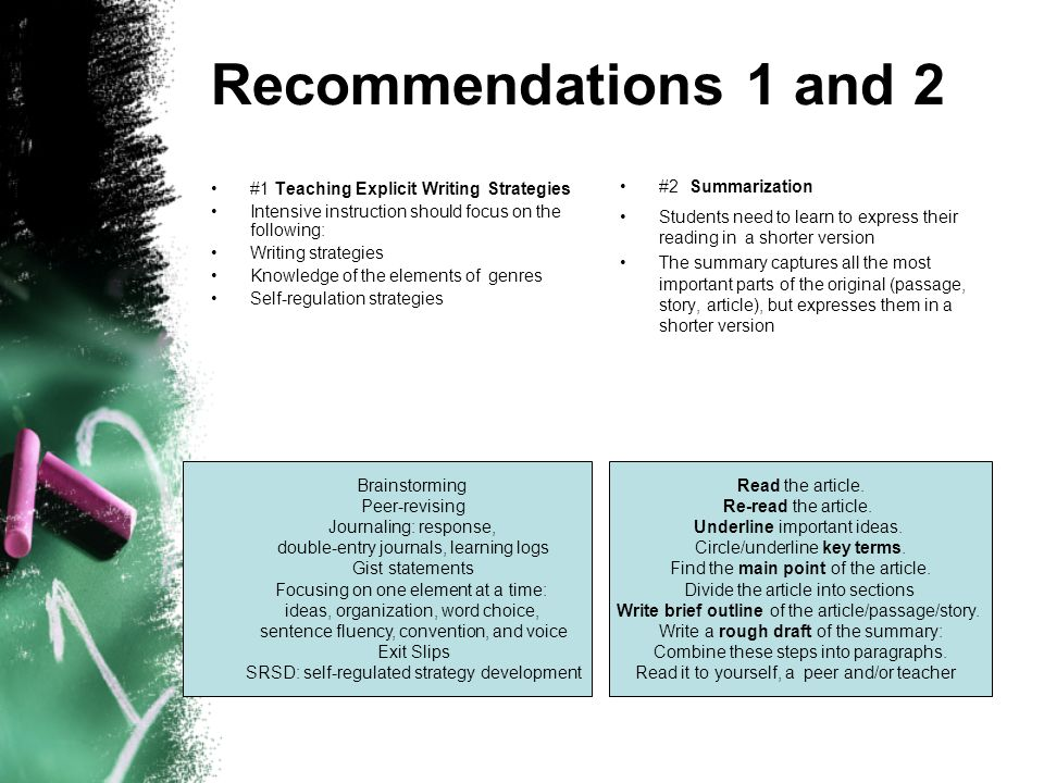 Recommendations 1 and 2 #2 Summarization
