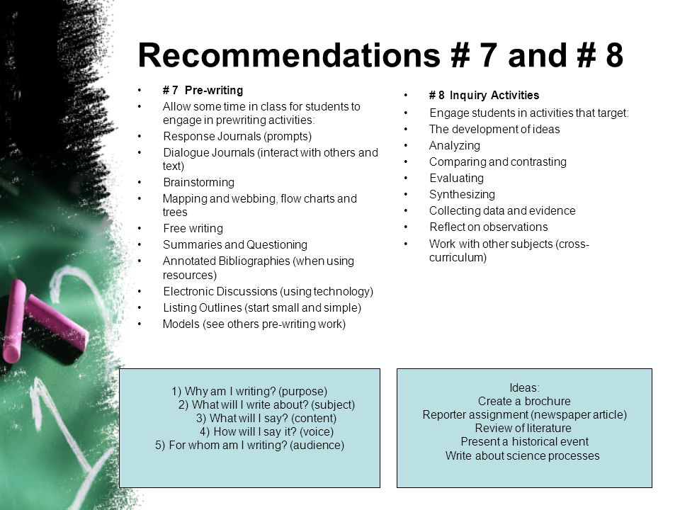 Recommendations # 7 and # 8