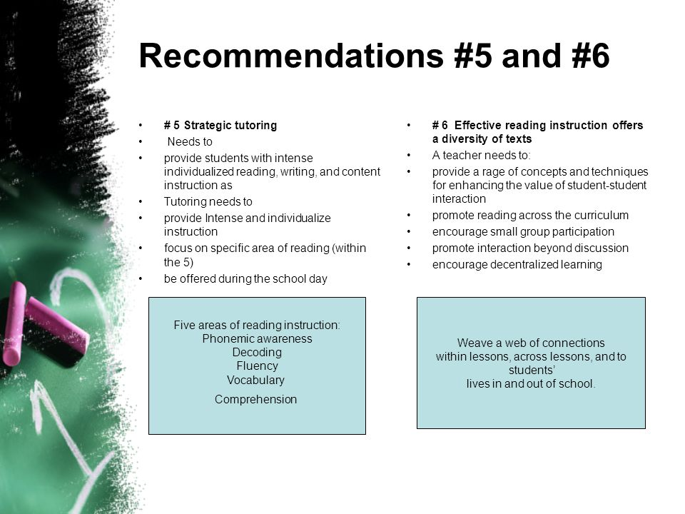 Recommendations #5 and #6