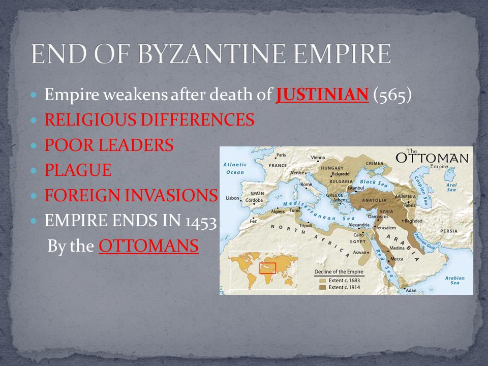 END OF BYZANTINE EMPIRE