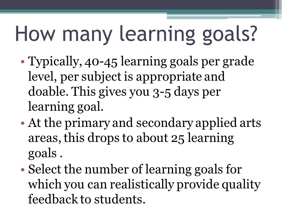 How many learning goals