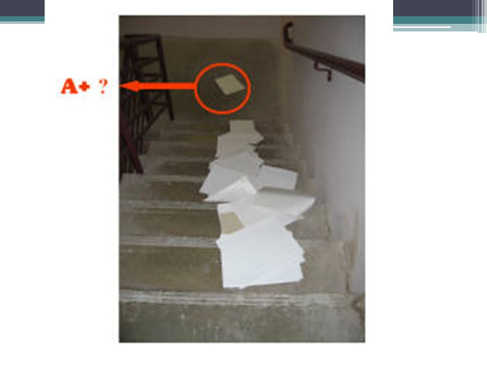 One final example, consider in Figure 8 below the circled exam that is is very far away from the others at the bottom of the staircase. Is this an A+