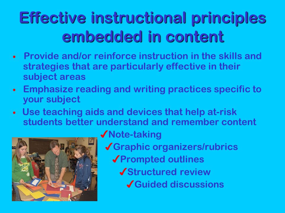 Effective instructional principles embedded in content