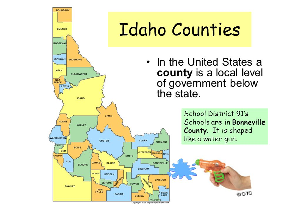 Idaho Counties In the United States a county is a local level of government below the state.