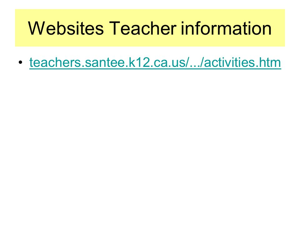 Websites Teacher information