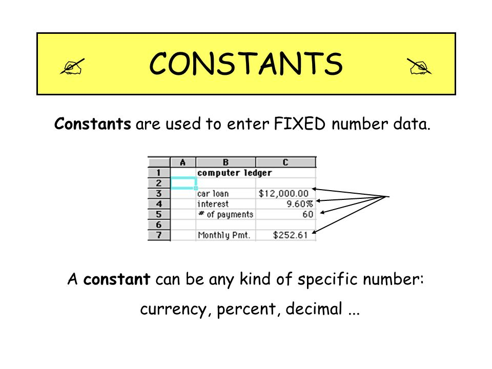  CONSTANTS  Constants are used to enter FIXED number data.