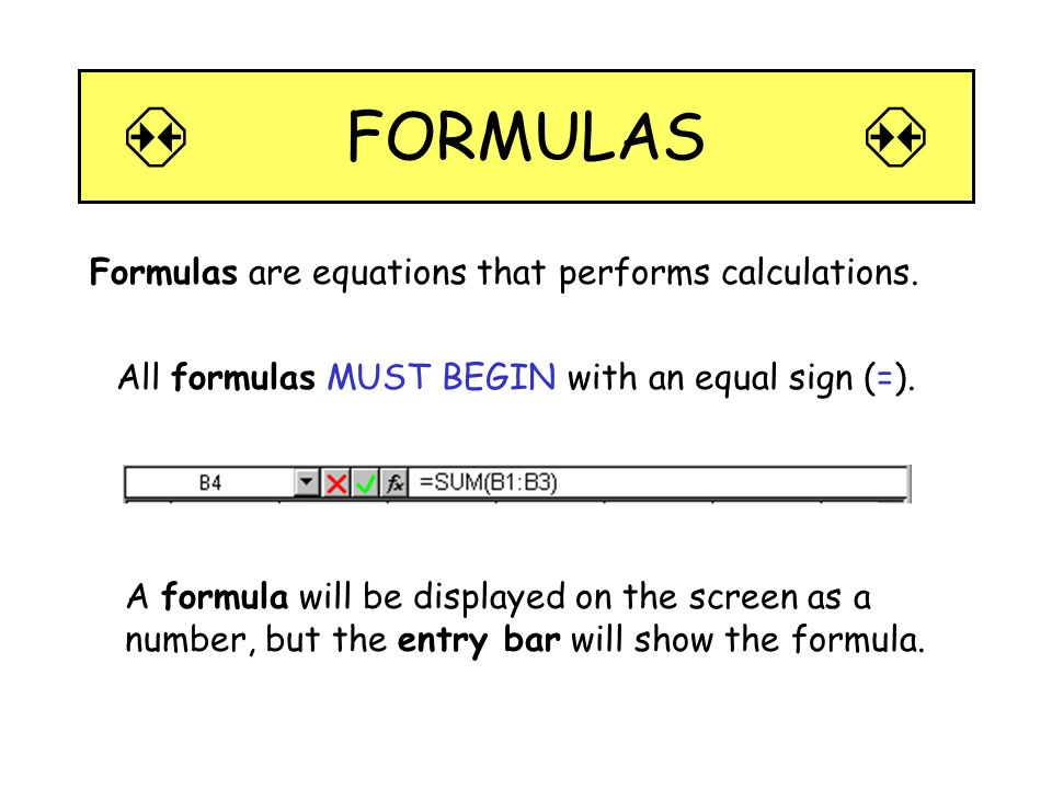  FORMULAS  Formulas are equations that performs calculations.
