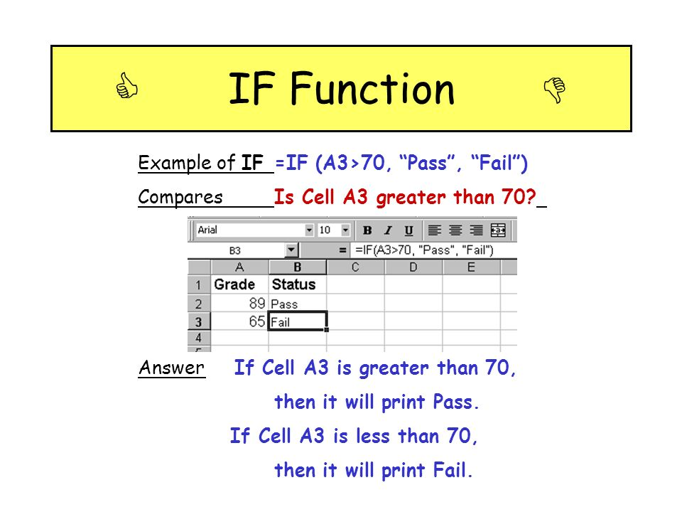  IF Function  Example of IF =IF (A3>70, Pass , Fail )