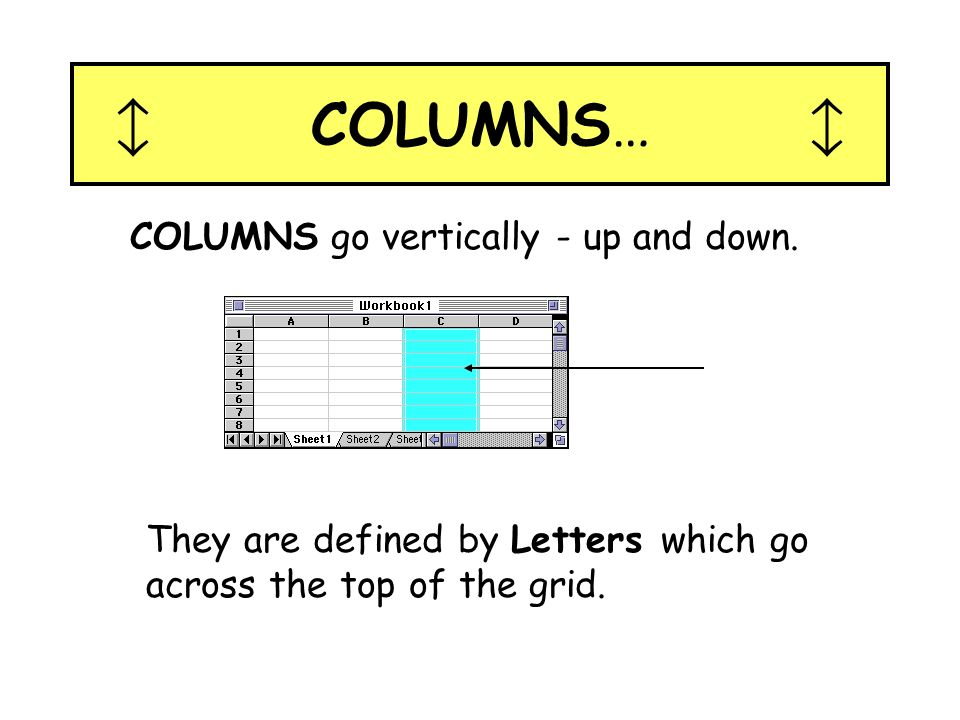  COLUMNS…  COLUMNS go vertically - up and down.
