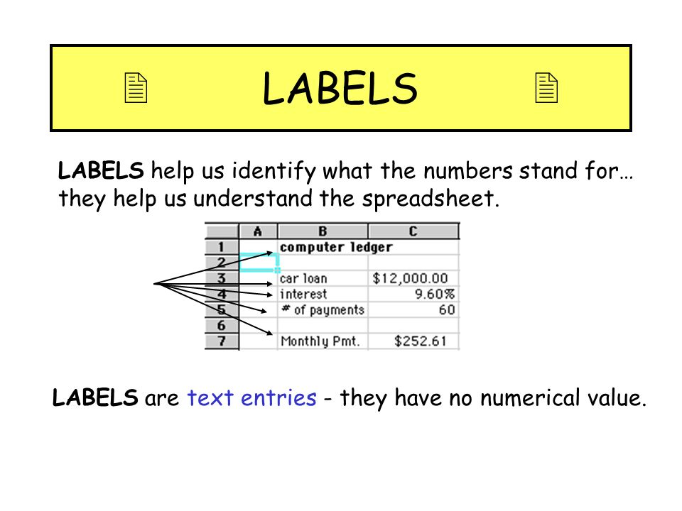  LABELS LABELS help us identify what the numbers stand for… they help us understand the spreadsheet.