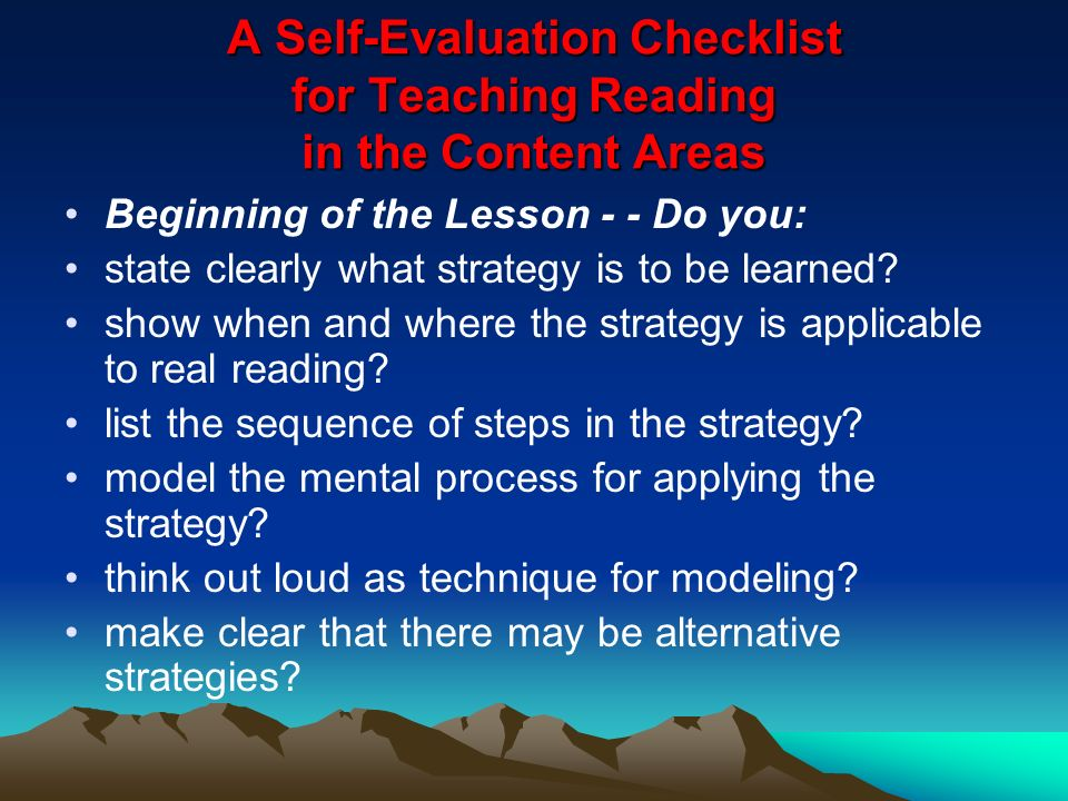 A Self-Evaluation Checklist for Teaching Reading in the Content Areas