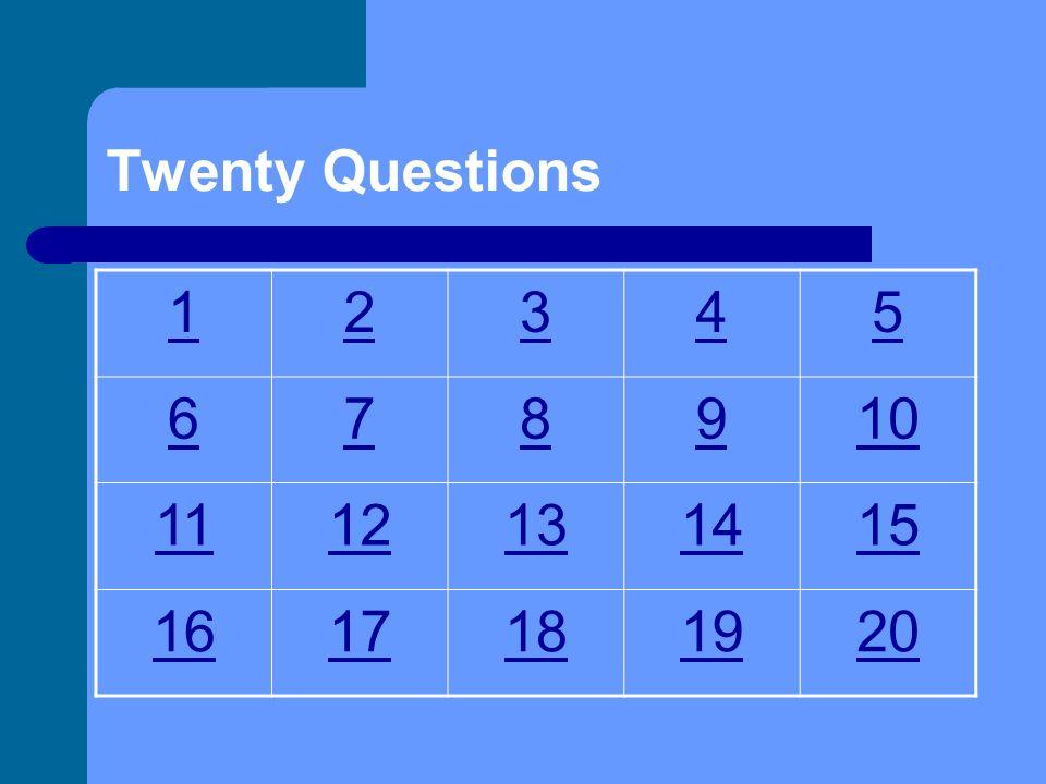 Twenty Questions 1 2 3 4 5 6 7 8 9 10 11 12 13 14 15 16 17 18 19 20