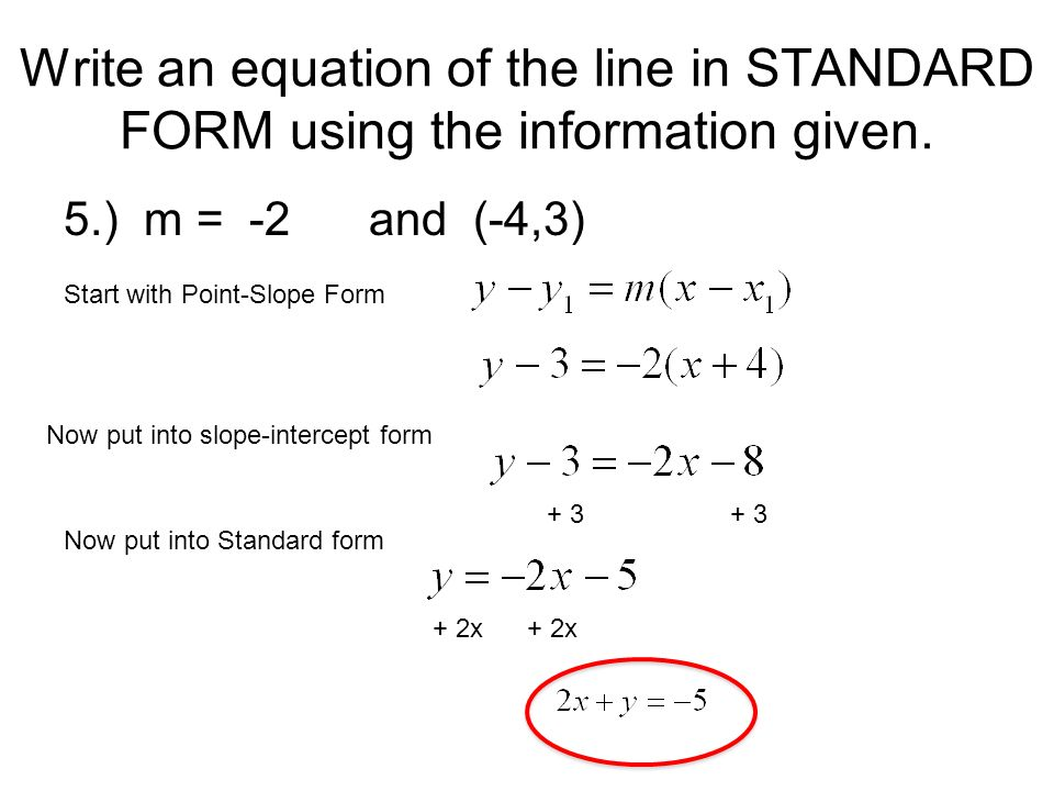 Write An Equation In Standard Form Given Slope Intercept Form With